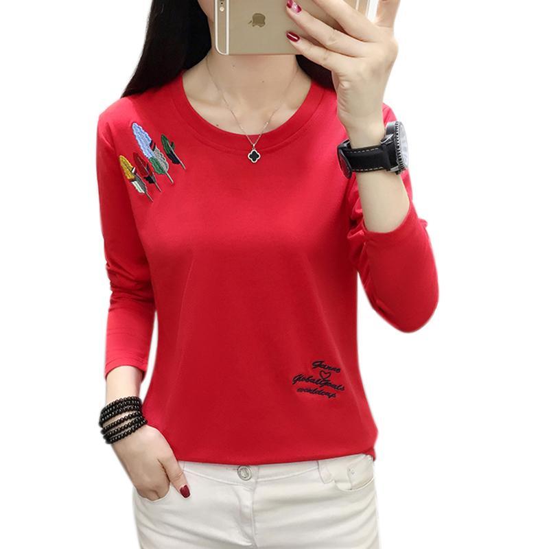 Плюс Размер тенниска Женщины Одежда 2020 Вышивание Tshirt с длинным рукавом Одежда Футболки Повседневная футболка Femme Poleras Mujer Y200111