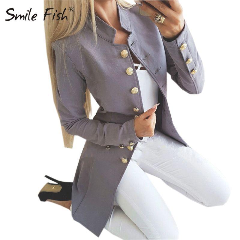 Büro-Frauen-langer Mantel Overall Mode Einreiher Winter-dünne Jacke Fest weiblich Rot Schwarz Botton Hülsen-Oberbekleidung M0235 T200111