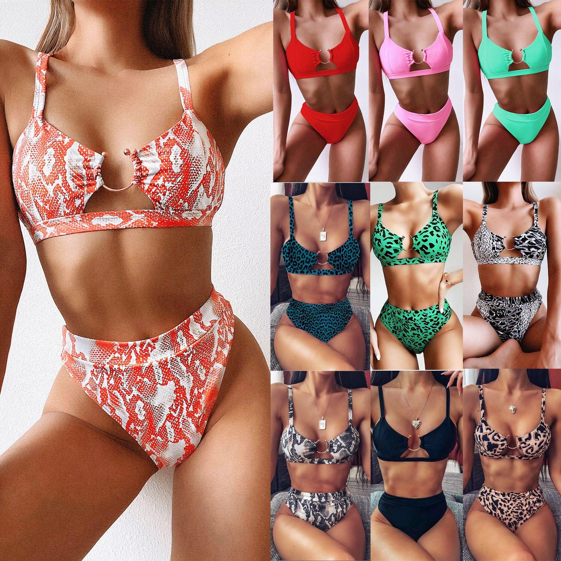 2020 modelos de explosão swimwear senhoras de comércio exterior dividir maiô leopardo biquini verde nova cor sólida swimwear frete grátis