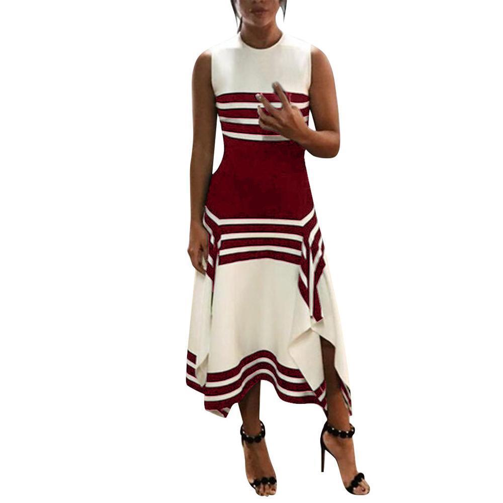 vestidos sin mangas de la raya del verano chica de moda vestidos de las mujeres de la raya del vestido ocasional de las mujeres de cuello redondo del partido Midi femenina Vestido