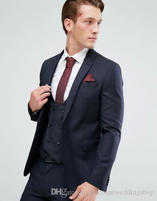 Abiti alla moda uomo vestito di affari lavoro Navy Blue Notch risvolto smoking dello sposo di nozze Mens Blazer Dinner Party (Jacket + Pants + Vest + Tie) J768