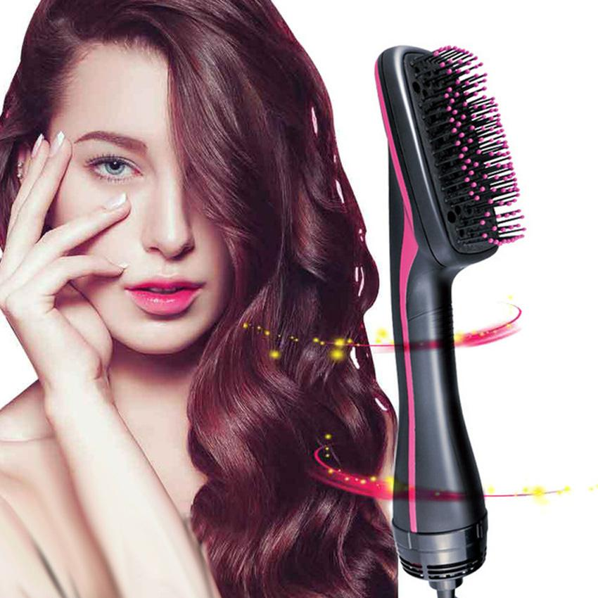 Hot Air Negative Ion Hair Brush Comb Electric Dryer Brush 2 in 1 Hair Styler Infrared Non Hurt Comb Straightener