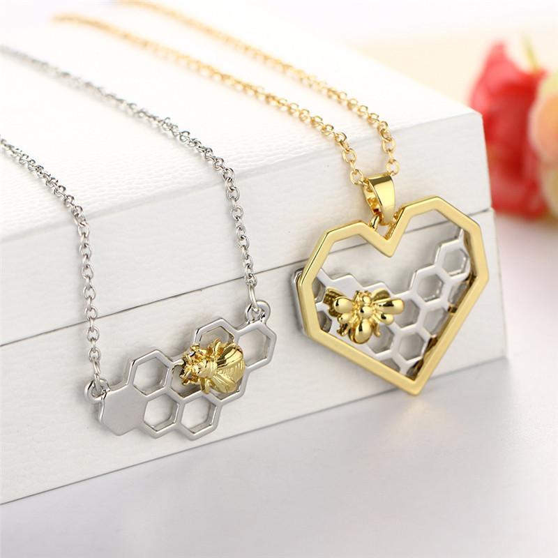 Уникальный дизайн ювелирных изделий Gold Bee On The Silver Honeycomb ожерелье для женщин Заявление ожерелье