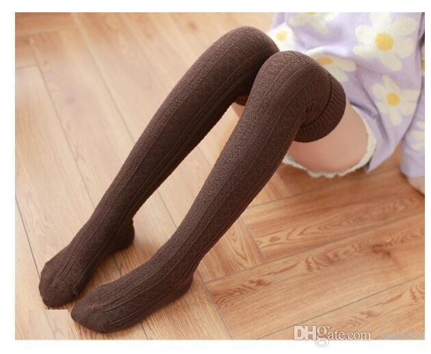 Las mujeres forman sobre las medias altas del muslo hasta la rodilla calcetines de diseño de alto almacenamiento 8 colores envío de la gota de café 100% algodón envío libre barato