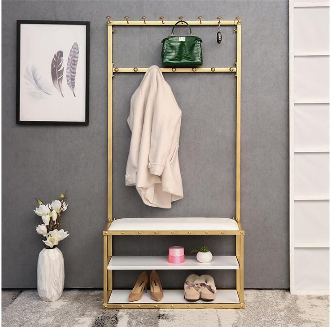 Door clothes rack simple floor clothing display rack multi-function storage shoe rack iron household shoe changing stool
