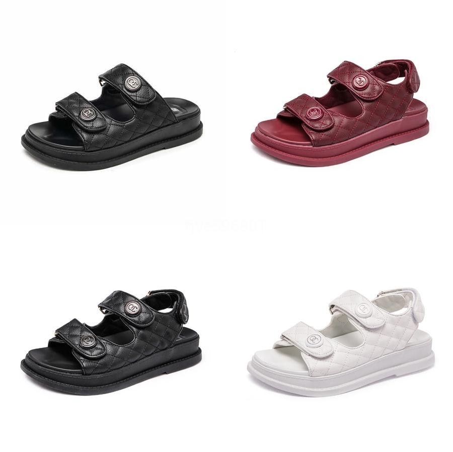 2020 nouvelles femmes Sandales d'été Chaussures Sandales Respirant femme Chaussons en cuir confortables Chaussures non-Slip plat de plage grande taille # 952