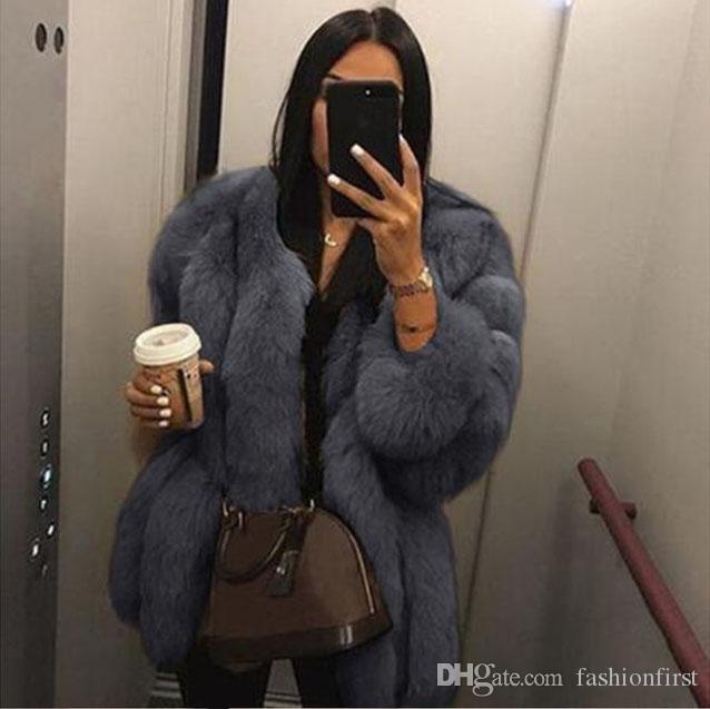 فتاة جميلة امرأة التقليد الفراء معطف طويل الأكمام دافئ الإناث شتاء جديد بالاضافة الى حجم 3XL 4XL معطف فرو الثعلب