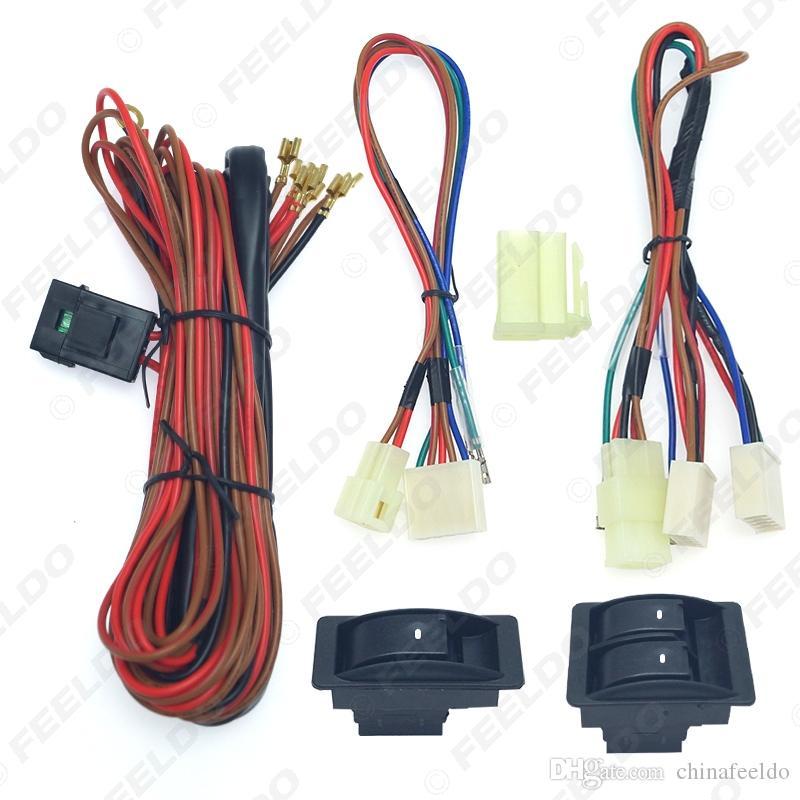 Universal Car avant 2 portes lève-vitre électrique 3pcs Interrupteurs Porte-harnais de fil avec éclairage vert clair # 2843