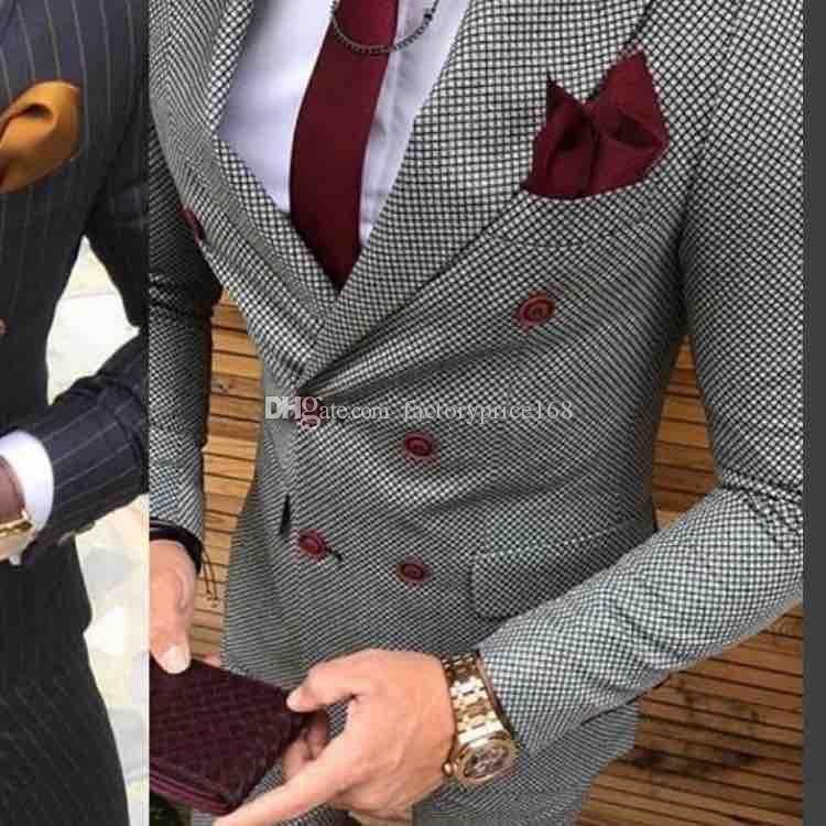 Populaire Double-breasted Groomsmen Pic Lapel (Veste + Pantalon + cravate) smokings marié Groomsmen meilleur homme Costume Hommes Costumes de mariage Epoux A167