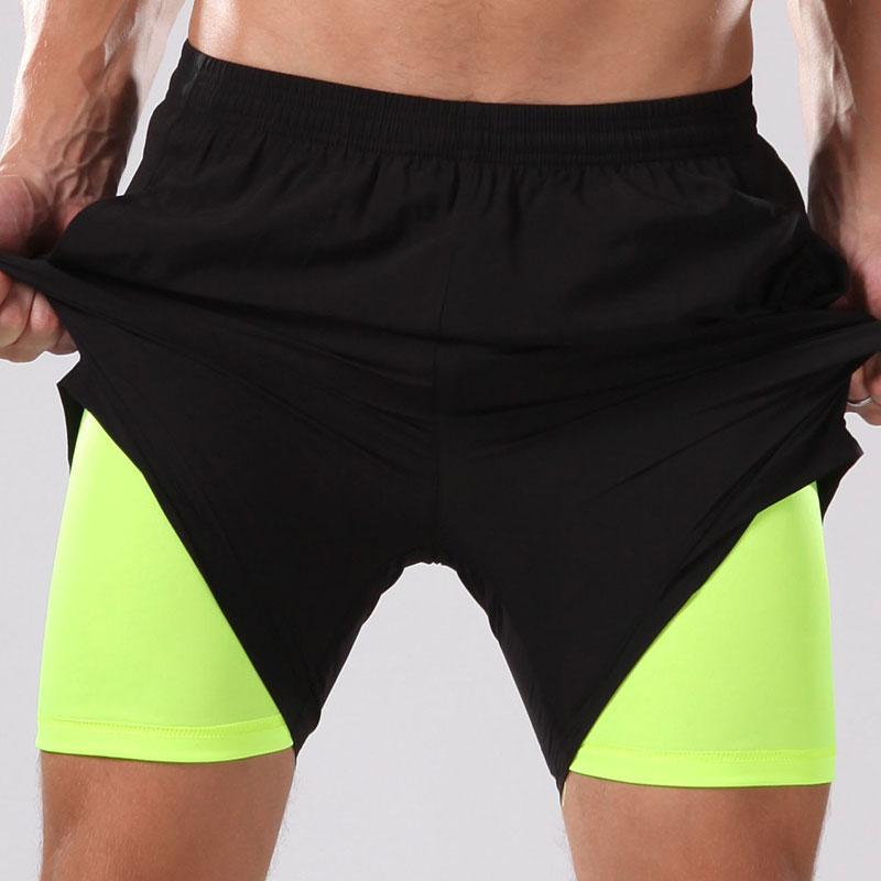 2 em 1 shorts de ginástica para homens correndo ginásio cueca compressão de secagem rápida que funcionam treinamento calções dos homens de basquete