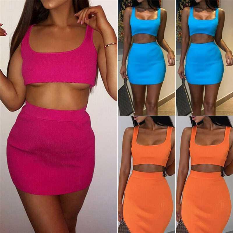 Duas mulheres Piece Set Streetwear Tanque Cortar Tops Hip Pacote de cintura alta Saias Mulheres roupa do verão Bodycon partido Clubwear Casual