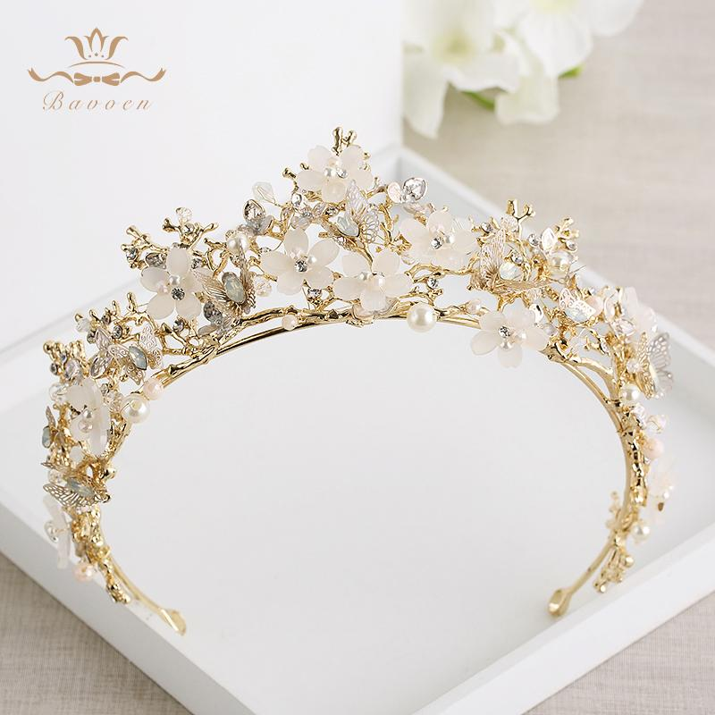 Bavoen Vintage Great Butterfly Bridals Tiaras Crowns Baroque Gold Brides Hairbands Wedding Hair accessories Prom Jewelry Gifts Y200409