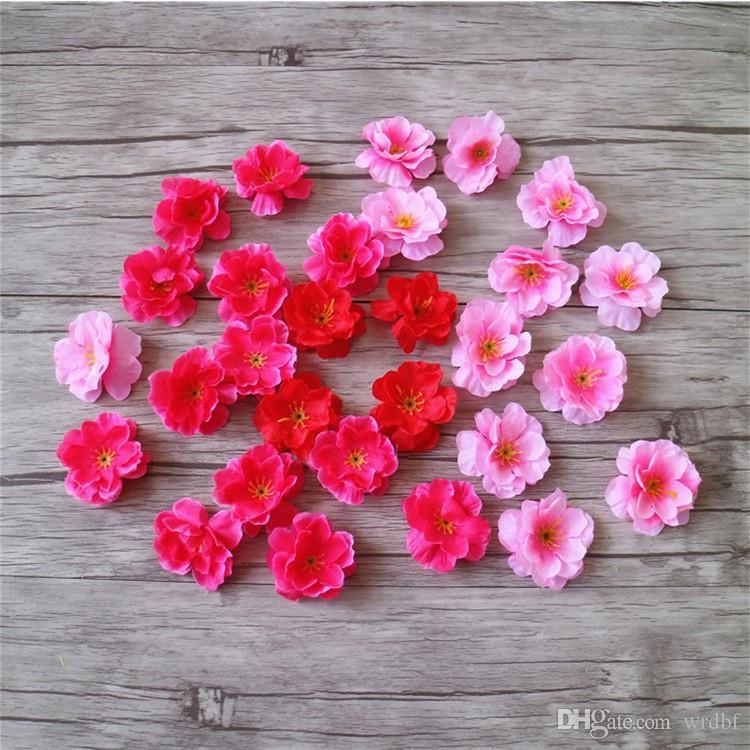 """가짜 체리 꽃 머리 디아. DIY 신부 꽃다발 손목 꽃 액세서리에 대 한 5cm / 1.97 """"인공 복숭아 꽃"""