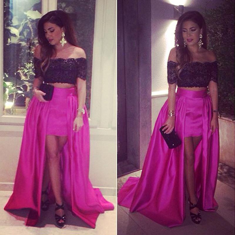 Noir et Fuchsia Salut-bas des robes de bal de l'épaule Dubaï arabe conception à manches courtes Celebrity SOIRÉE Robes Robe