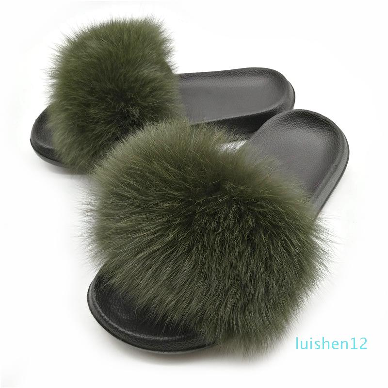 Women's Winter Warm Fur Slippers Female Cute Fluffy House Shoes Plush Hair Fluffy Slippers Women Slides Flip Flops Sandals l12