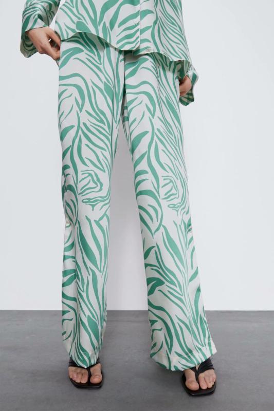 2020 nuova primavera-estate europea stampato domestici pantaloni verdi femminili zaraing vadiming DONNA sheining pantaloni pantaloni BGB2145