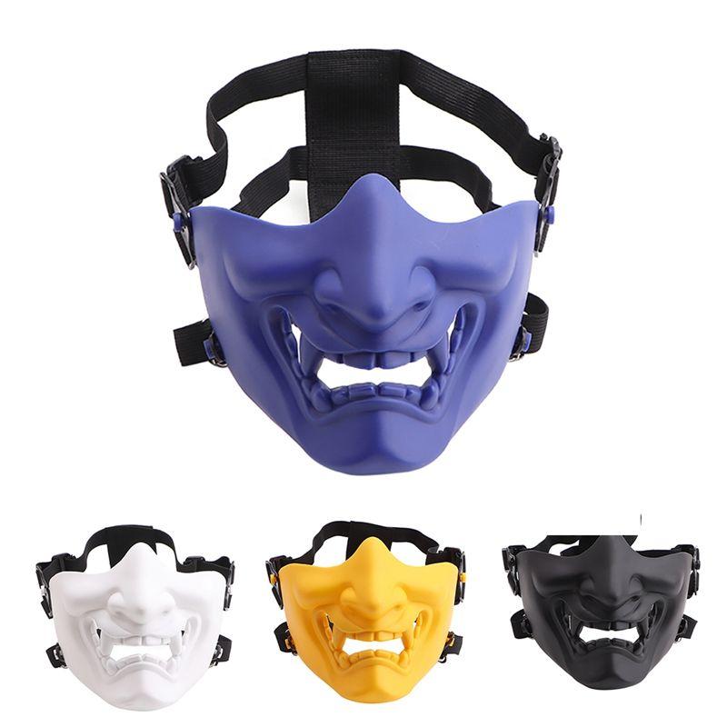 Demi masque facial effrayant souriant Fantôme Forme Réglable Tactique Coiffure Protection Sports de Plein Air Halloween Costumes Partie
