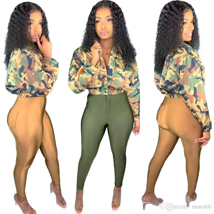 Women fall winter Tracksuit camouflage print 2 piece set long sleeve jacket bodycon pants zipper leggings suit casual jogger suit 2023