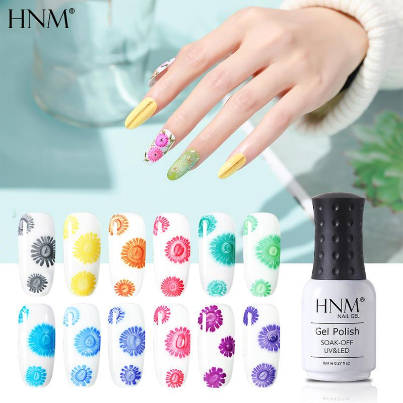 HNM Gel UV Fleur Gel Vernis à ongles Soak Off Primer LED UV Long Lasting Gel Lacquer Polish Manucure Nail Art 8ML