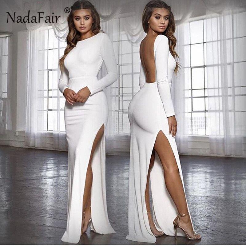 Nadafair Backless Sexy Party Dress Vestidos Long Sleeve High Side Split Bodycon Maxi Dress Women White Black Elegant Long Dress T200106