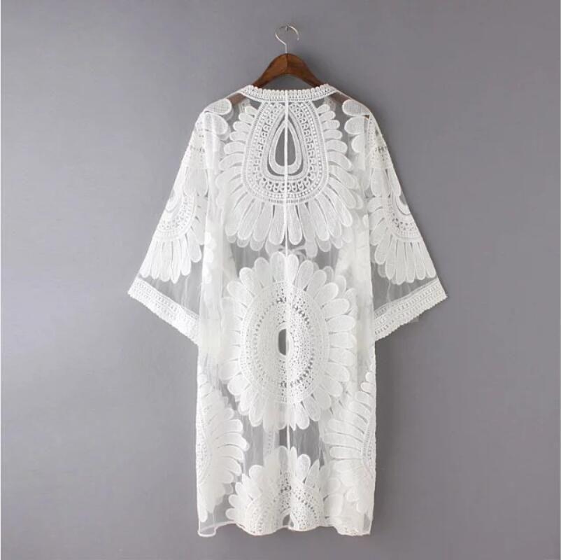 2018 frauen sommer neue net shirt spitze v-ausschnitt hülse stickerei casual weiße bluse
