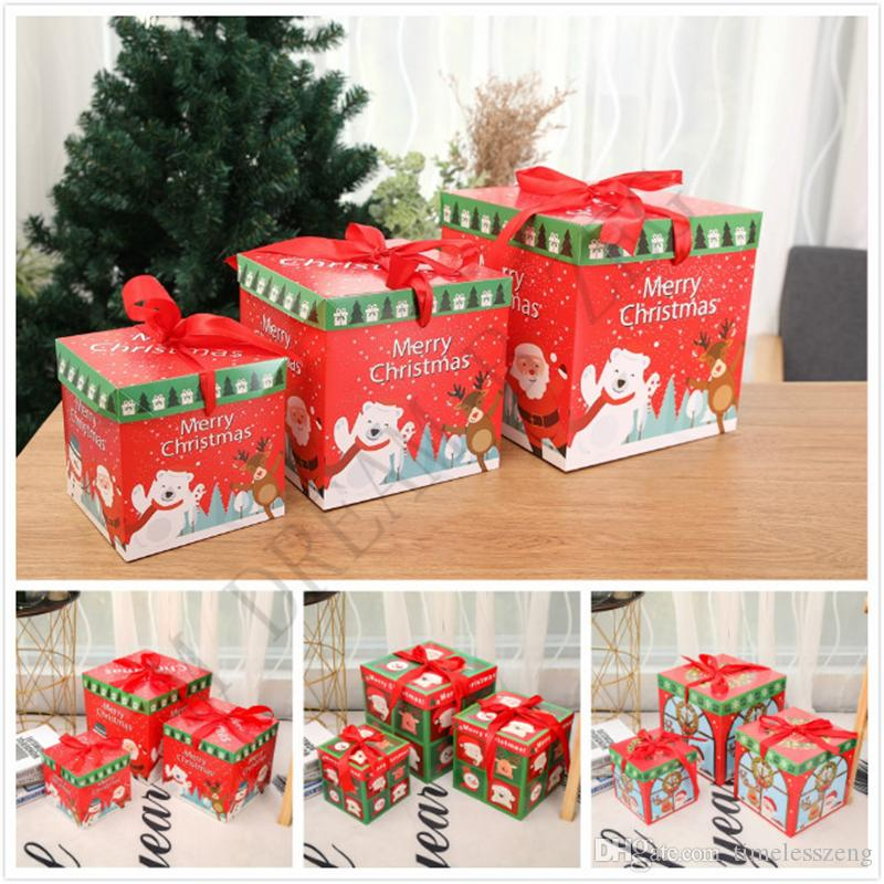 Diy Christmas Gift Box Xmas Window Props Family Party Candy