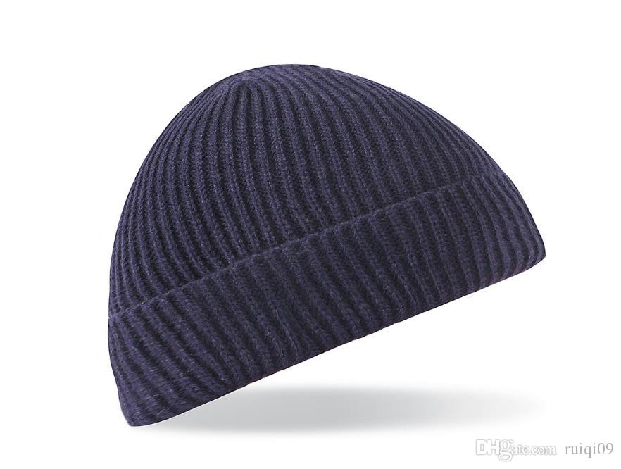 Knitting Wool Hats Retro Slouchy Beanie Hat Mens Winter Ribbed Warm Fashion Cap