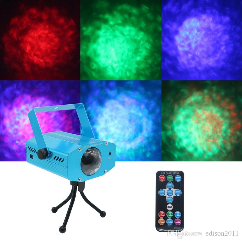 Edison2011 12W IR Remote Colorful Strobe RGB LED Stage Light Water Wave Projection Effect Lights Music Control Party DJ Disco Lighting