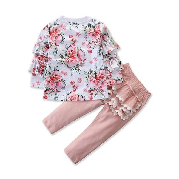 Autumn New Toddler Baby Girls Kids Clothes Lace Ruffle Tops T-shirt Pants Outfit