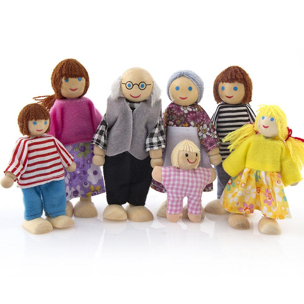 Mini Family Doll Toys Small Wooden Figures Dressed Characters Children Kids Play Doll Gifts Kids Educational Toys #3s