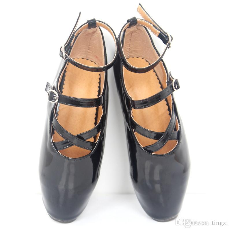 New 18Cm High Heel Sexy Show Girl Ballet Pumps Spike Heels Stiletto Pointed Toe Strappy Ankle Strap Black Dancing Shoes