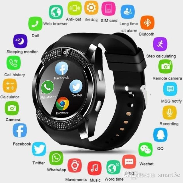 V8 Smart Watch Bluetooth Pantalla táctil Android Impermeable Deporte Hombres Mujeres Smartwatched con cámara Tarjeta SIM PK DZ09 GT08 A1
