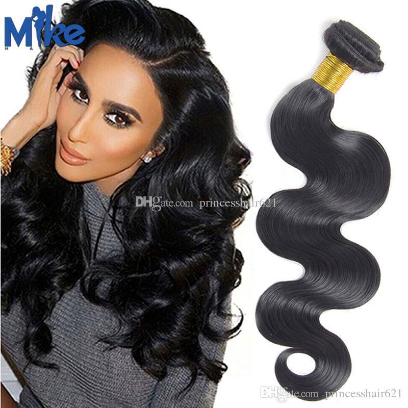 MikeHair Günstige brasilianische Haarverlängerung 1 Stück Körperwelle Menschliches Haar-Webart 8 bis 30 Zoll 100g peruanische indische malaysische Haarbündel für Frauen