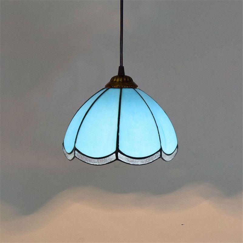 8 pouces bleu moderne lampe en verre méditerranéenne créative chambre restaurant bar en verre Tiffany petit lustre TF067