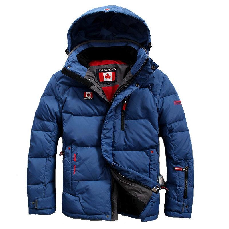 2019 CANUCKS men down coats for sale White goose down waterproof down fill jackets with hoody Cold resistant