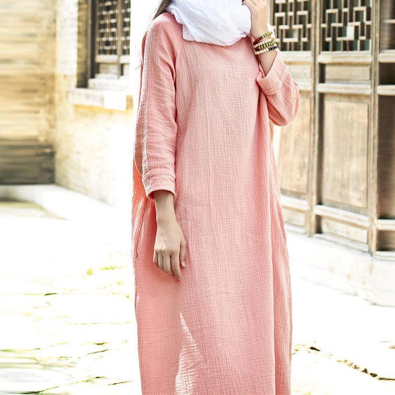 Sherhure largo de algodón y lino Vestidos ropa de gran tamaño de gran tamaño de las mujeres Maxi vestido blanco