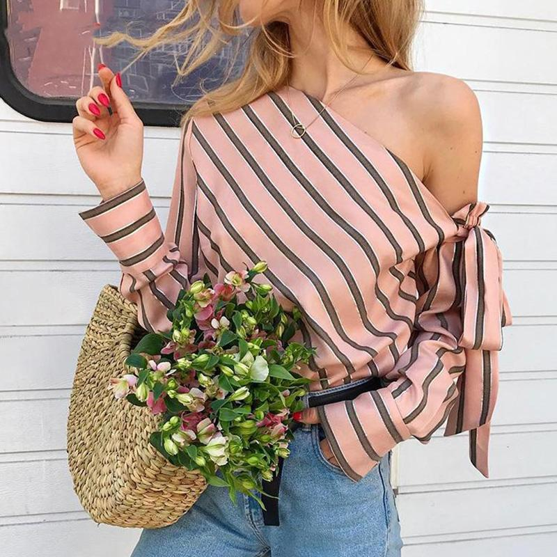 Полосатая блузка женщины одно плечо Топы с длинным рукавом Sexy Bow Рубашки Женская мода Женские блузки