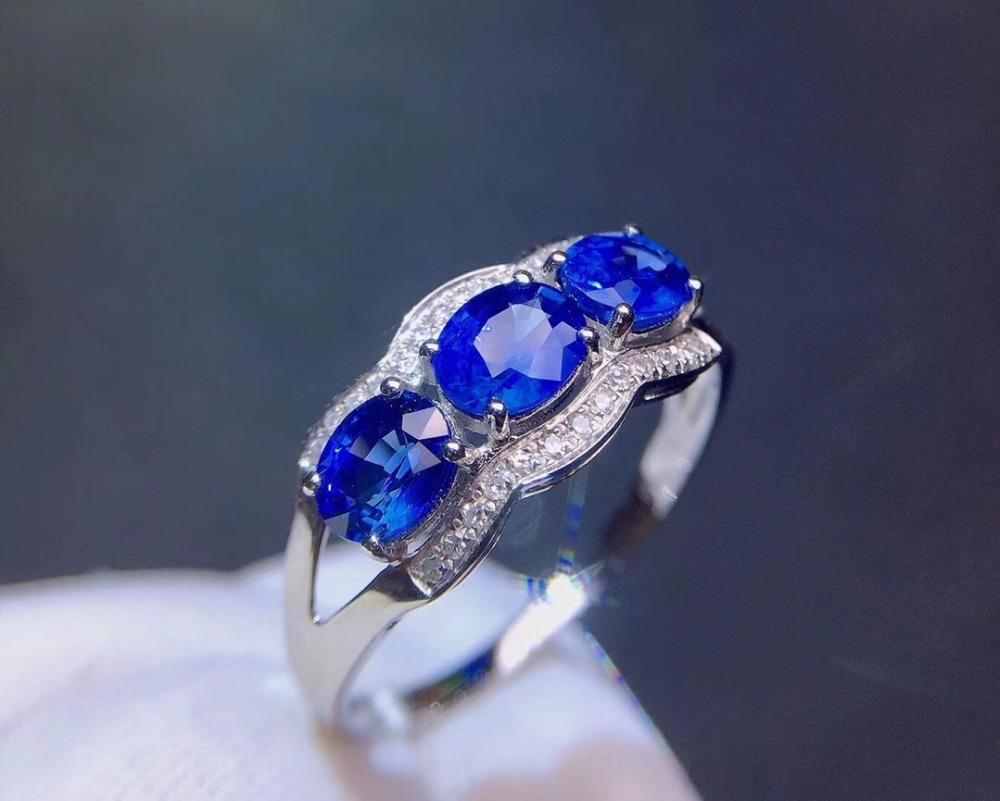 Fine Jewelry Real Pure 18 K White Gold Jewelry 100% Natural Blue Sapphire 1.38ct Gold Diamonds Stone Female Fine Rings