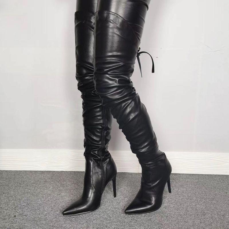 اليدوية المرأة الفخذ أحذية عالية الكعب الخنجر أحذية أشار تو أحذية سوبر مثير أسود النادي الليلي المرأة زائد الحجم الولايات المتحدة 5-15