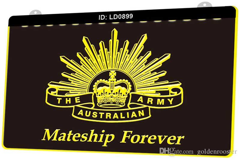 LD0899 Австралийская армия Mateship навсегда Новая 3D гравировальные светодиодные Вход Настройка по требованию многоцветность