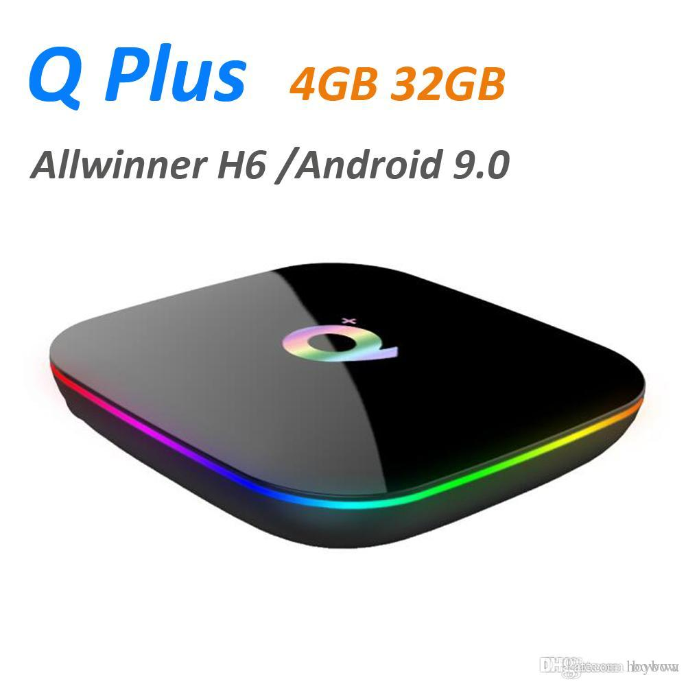 Q más inteligente Android 9.0 TV Box 4 GB 32 GB de Allwinner H6 1080P H.265 4K Media Player 2.4G inalámbrica Wifi Set Top Box