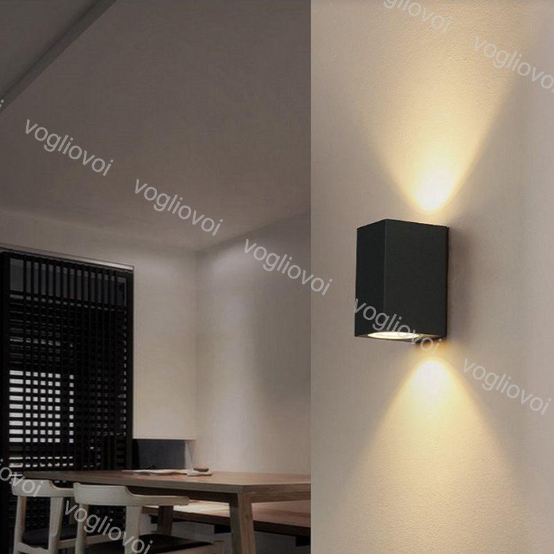 Lámparas de pared al aire libre arriba abajo iluminación 6W 10W COB Impermeable Negro Fundición de vidrio de aluminio para camas para la sala de estar Estacionamiento de la luz Garaje DHL