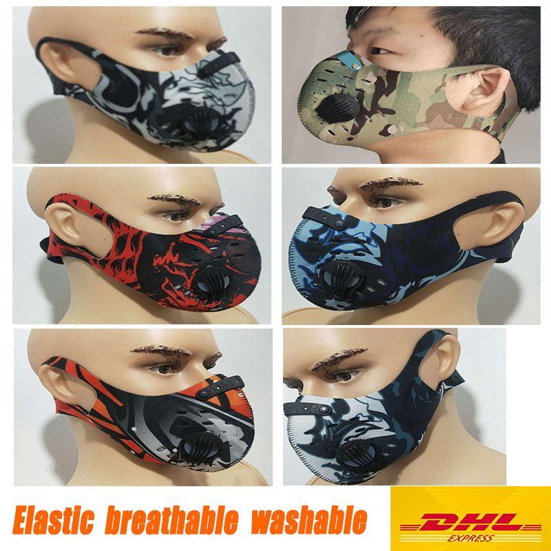 Faire du vélo masque de protection avec valves carbone activé respirateurs vélo Anti poussière PM2,5 à vendre réutilisable extérieur masque Sport Bike