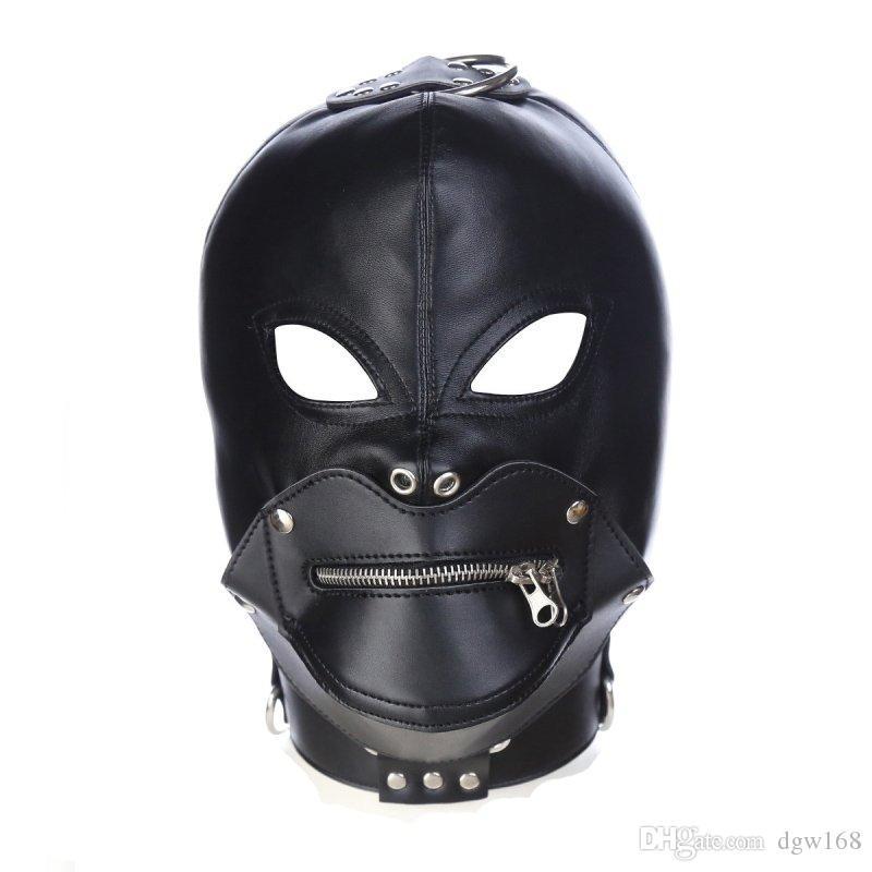 바람둥이가 잠금 헤드 악마 멋진 마스크는 하네스 벨트 코스프레 성인 성인 게임에 대한 게임 마스크 플레이 마스크 바운드 PU 후드 마스크