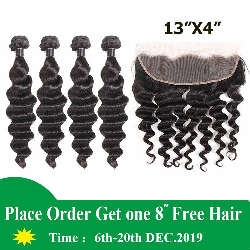 9A Virgin Bundles cheveux brésiliens avec Frontal 3 Bundles Brésil déchaîne Vague cheveux avec 13x4 Dentelle Frontal Remy Human Hair Weave