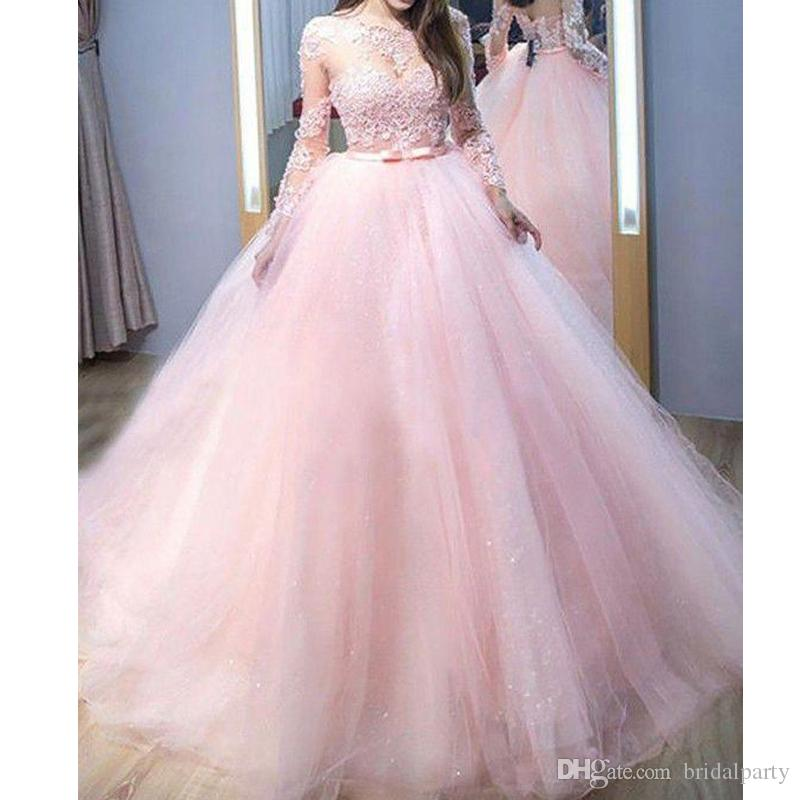 Rosa vestidos formales Sheer cuello de princesa Girls Vestidos de baile de encaje floral de manga larga vestidos de noche del partido Vestido Hecho personalizada