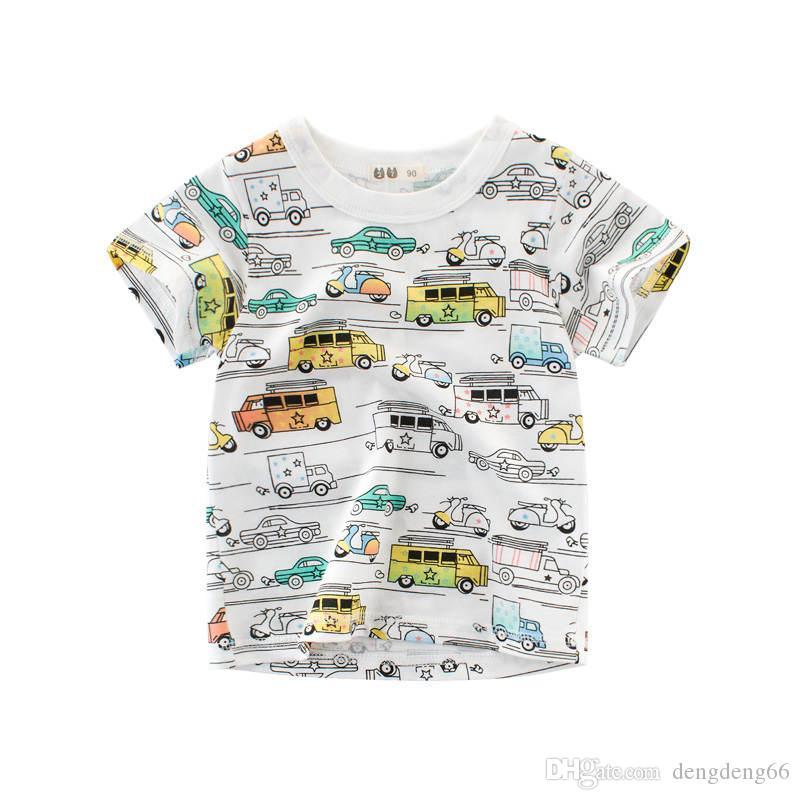 Printing Kids Boys Girls T-shirt Short Sleeve Summer Tees Tops Car Printed Toddler Kids Casual Tee Shirts 2019 Round Neck Unisex Clothing