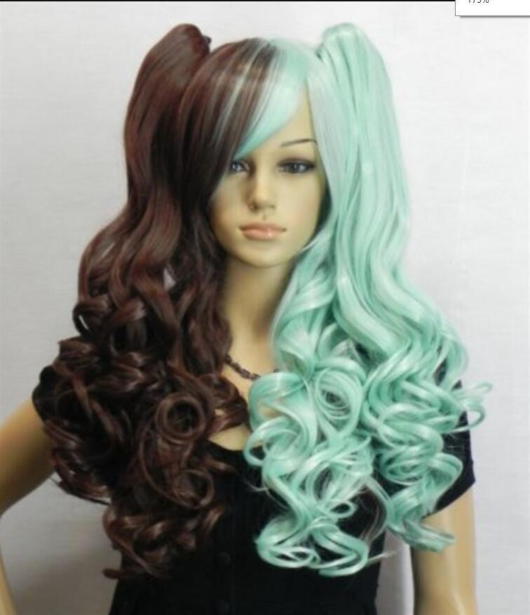 Parrucca parrucca riccia lunga e multi color parrucca