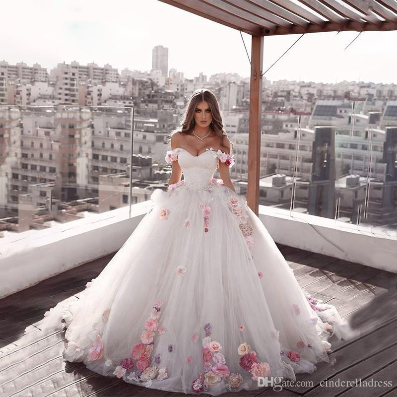 2020 Beautiful Off-the-shoulder Princess Long Weeding Dresses Engagement Dresses A-Line Hand Made Flowers Tulle Brides Dresses Plus Size