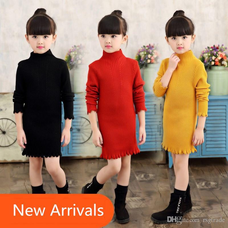Free DHL Autumn Winter Girls Knitted Dress Children Clothes Slim Princess Girls Sweater Dress Girls Pullover Sweater Knitted Cotton Outwears